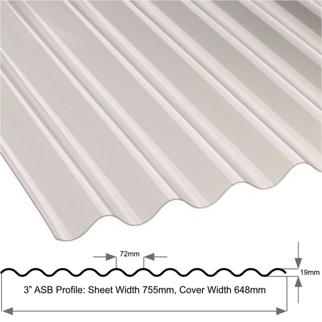 "3"" Standard (Asb.) Profile Superweight 1.3mm Clear Sheet"