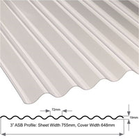 "3"" Standard (Asb.) Profile Lightweight 0.8mm Clear Sheet"