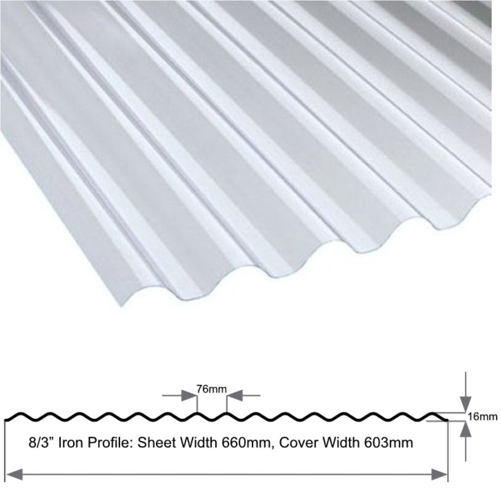 "3"" Iron Profile Heavyweight 1.1mm Clear Sheet"
