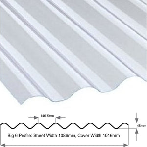 "Big Six 6"" Profile Superweight 1.3mm Clear Sheet"