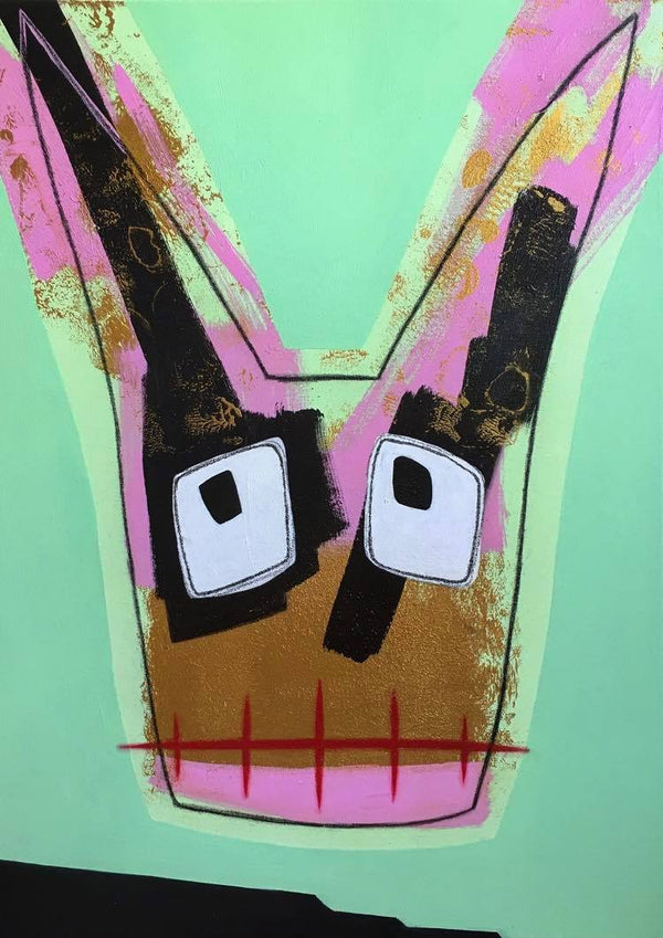 Punky Pink Green Monster Bunny
