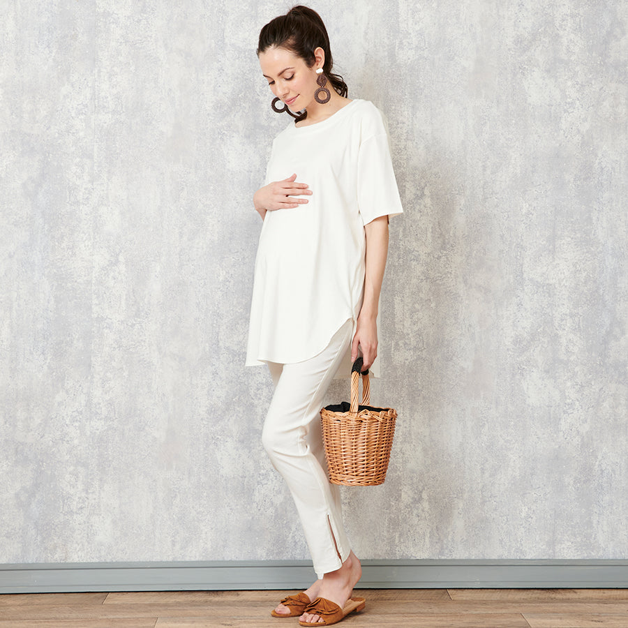 Maternity Over Belly Slit Pants