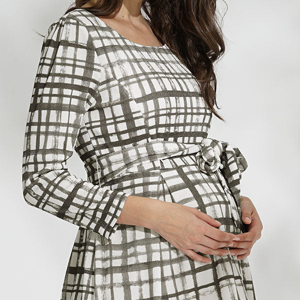【Made in Japan】Maternity and Nursing Tweedy Check Dress