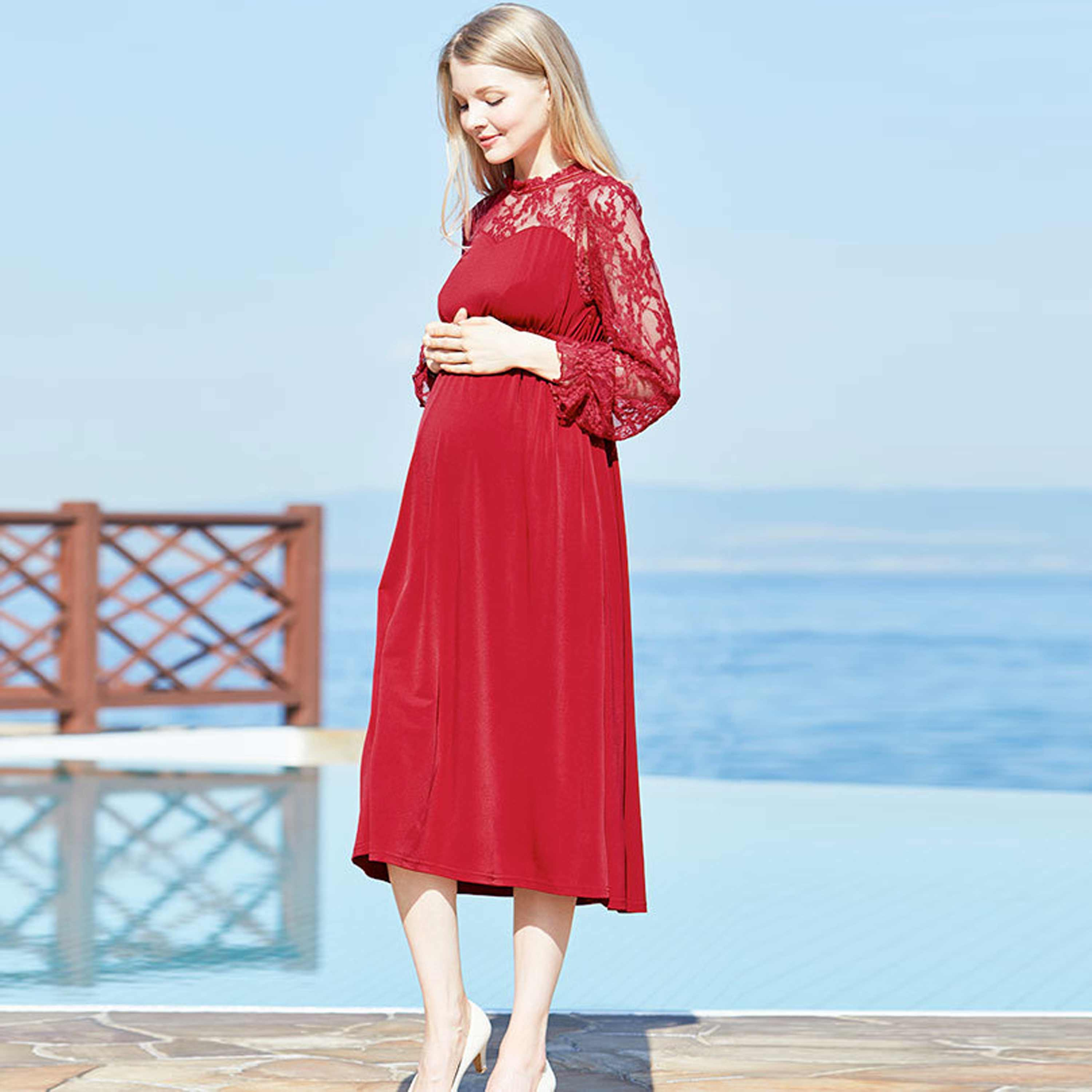 Maternity and Nursing Classic Baptism Long Sleeve Dress