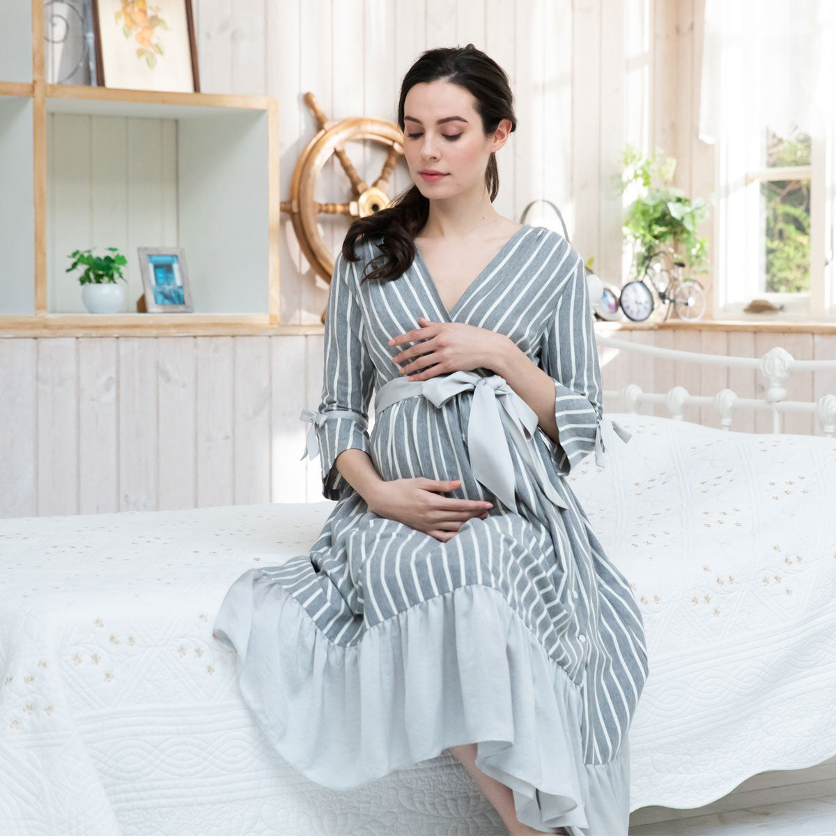 Maternity and Nursing Striped Cotton Nightie