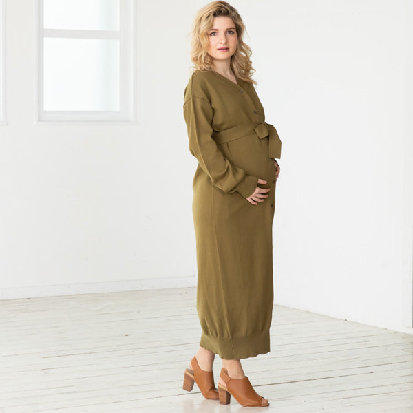Maternity and Nursing Open Front 100% Organic Cotton Knit Cardigan Dress