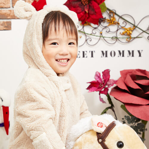Sweet Mommy Baby Fleece Jumpsuit with Teddy Bear Hood