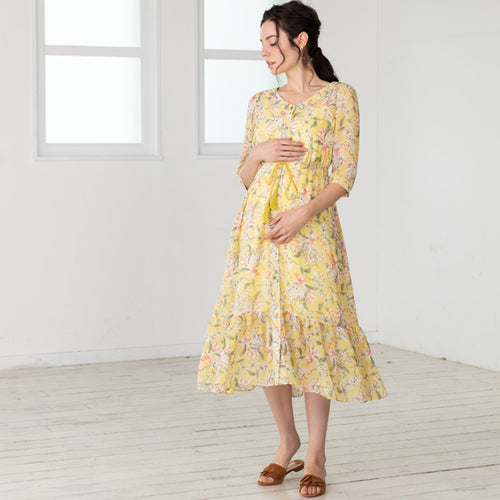 Maternity and Nursing Floral Pattern Chiffon Tiered Dress