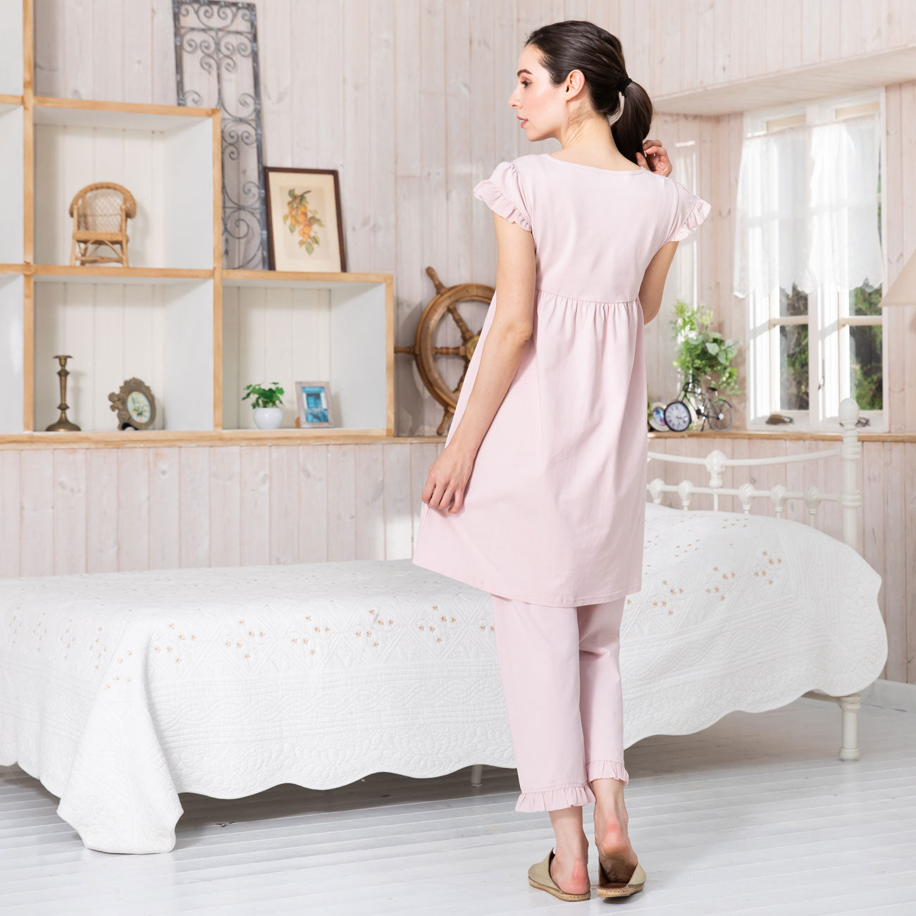 LUXE Maternity and Nursing Ruffled Hem 3 Items Pajama Set