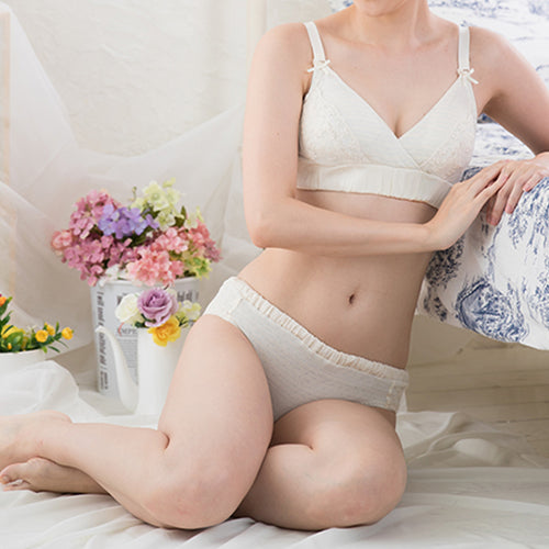 [MADE IN JAPAN] Maternity and Nursing 100% Organic Cotton Floral Lace Bra