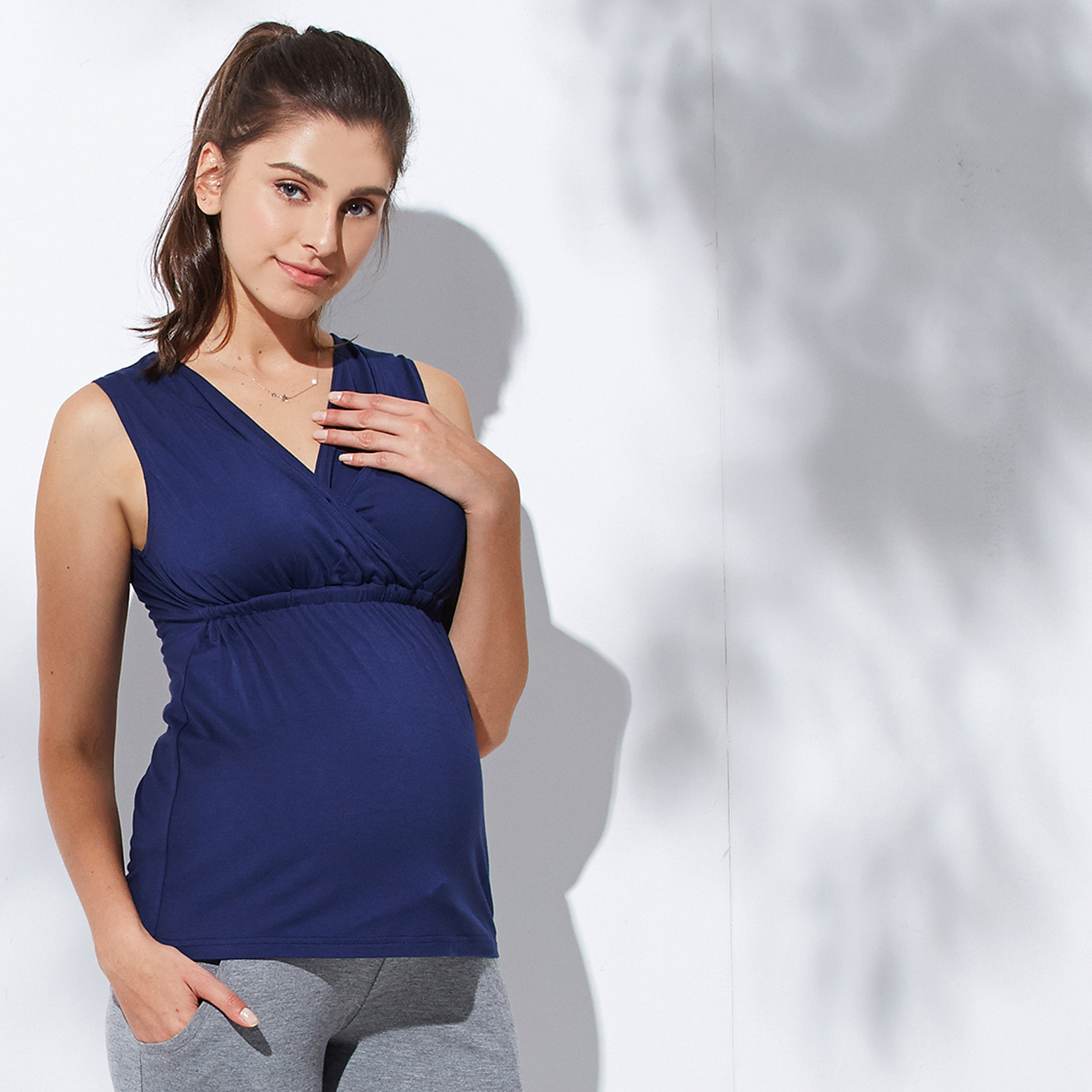 Maternity and Nursing Sleeveless Greek Style Tank Top