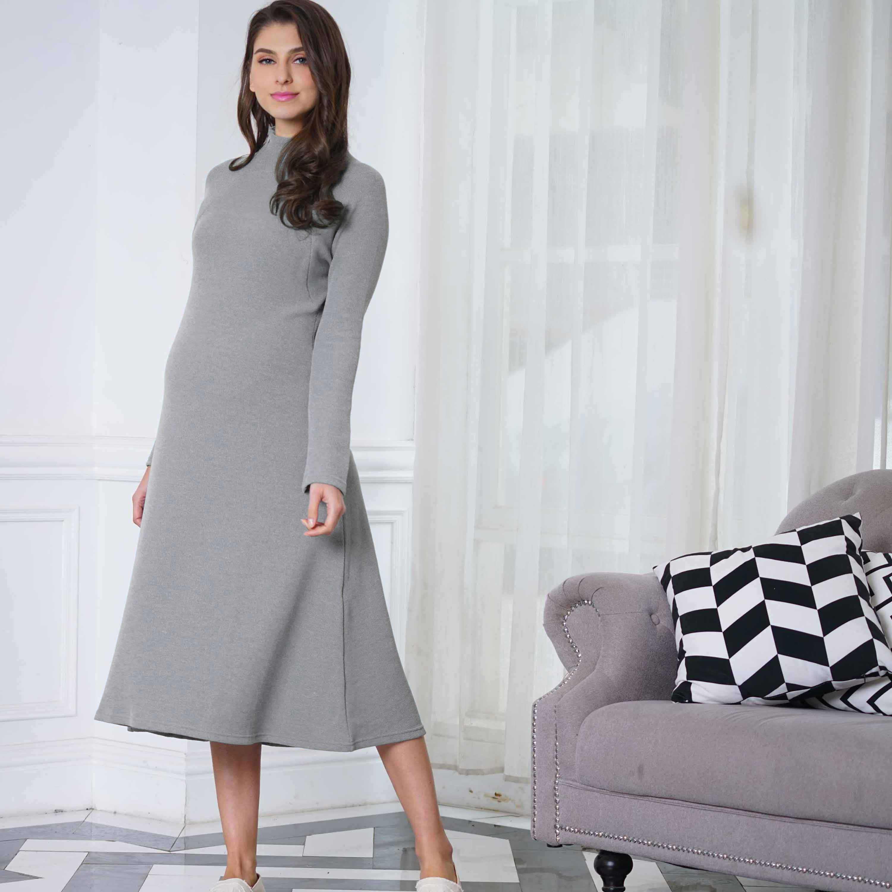 Maternity and Nursing Maxi Knit Long Sleeve Flared Dress