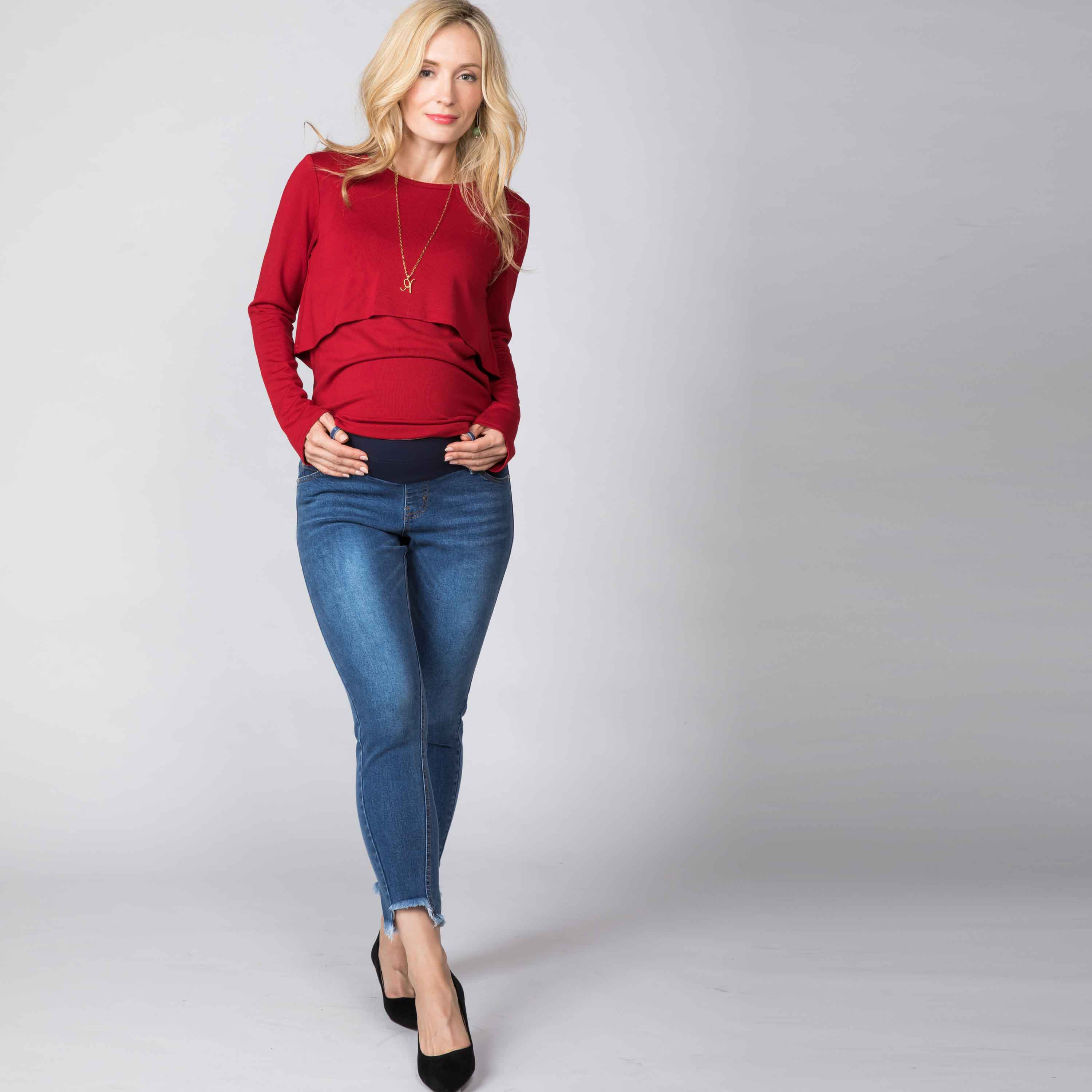 NEW Maternity and Post-Partum COTTON LOW WAIST Cropped Ankle Length Jeans