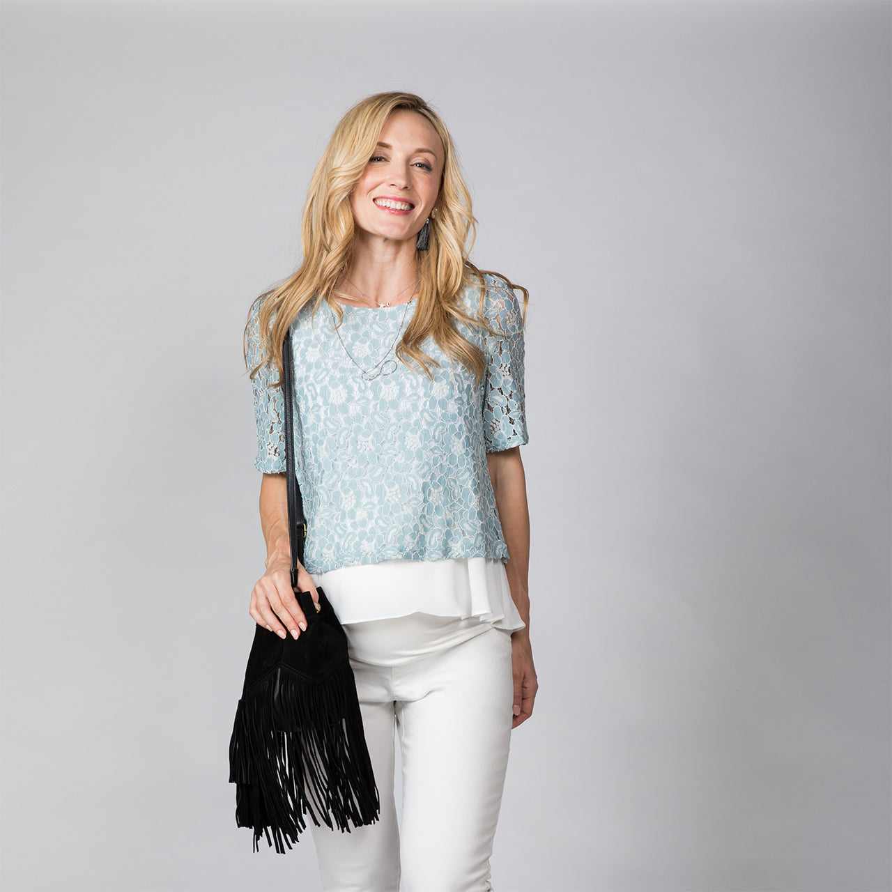 Maternity and Nursing Lace Double Layered Top Blouse