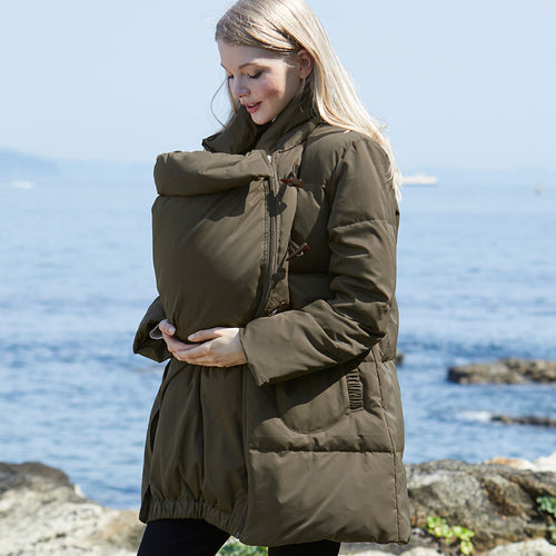 Maternity Babywearing Duffel Down Coat with Removable Panel