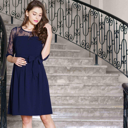 Maternity and Nursing Dress with Lace Neck line and Short Sleeves with 100% Cotton Lining