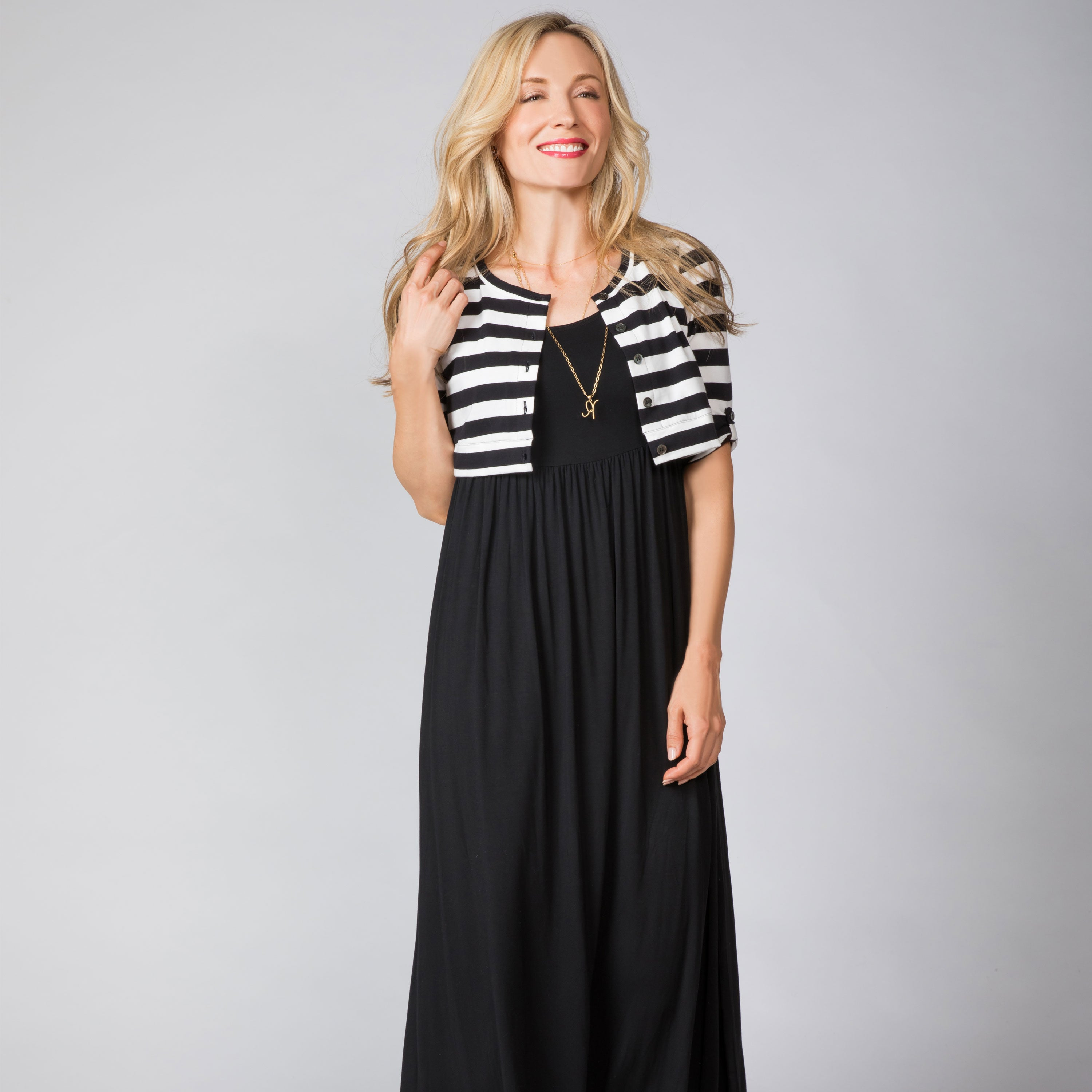 Maternity and Nursing Maxi Dress with Fake Cardigan
