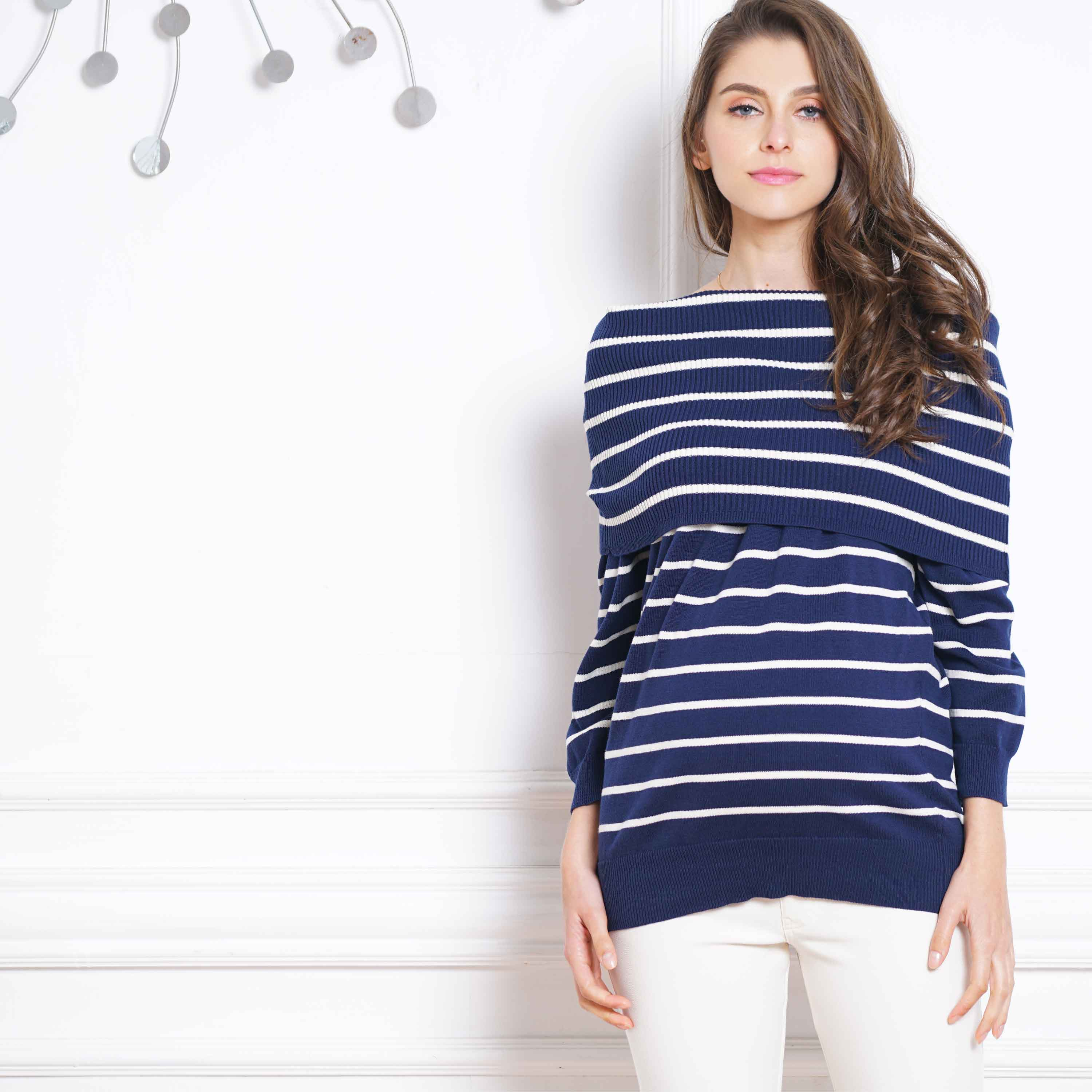 Maternity and Nursing 100% Organic Cotton Off-Shoulder Knit Stripe Print Sweater Top