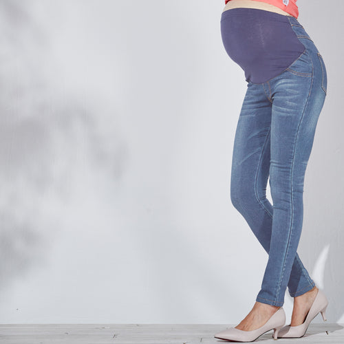 BEST SELLING CLASSIC HIGH WAIST Maternity Stretchy Skinny/Slim Fit Washed Jeans with belly poach