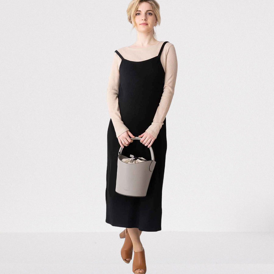 Maternity and Nursing Rib Knit Dress with Fake Top
