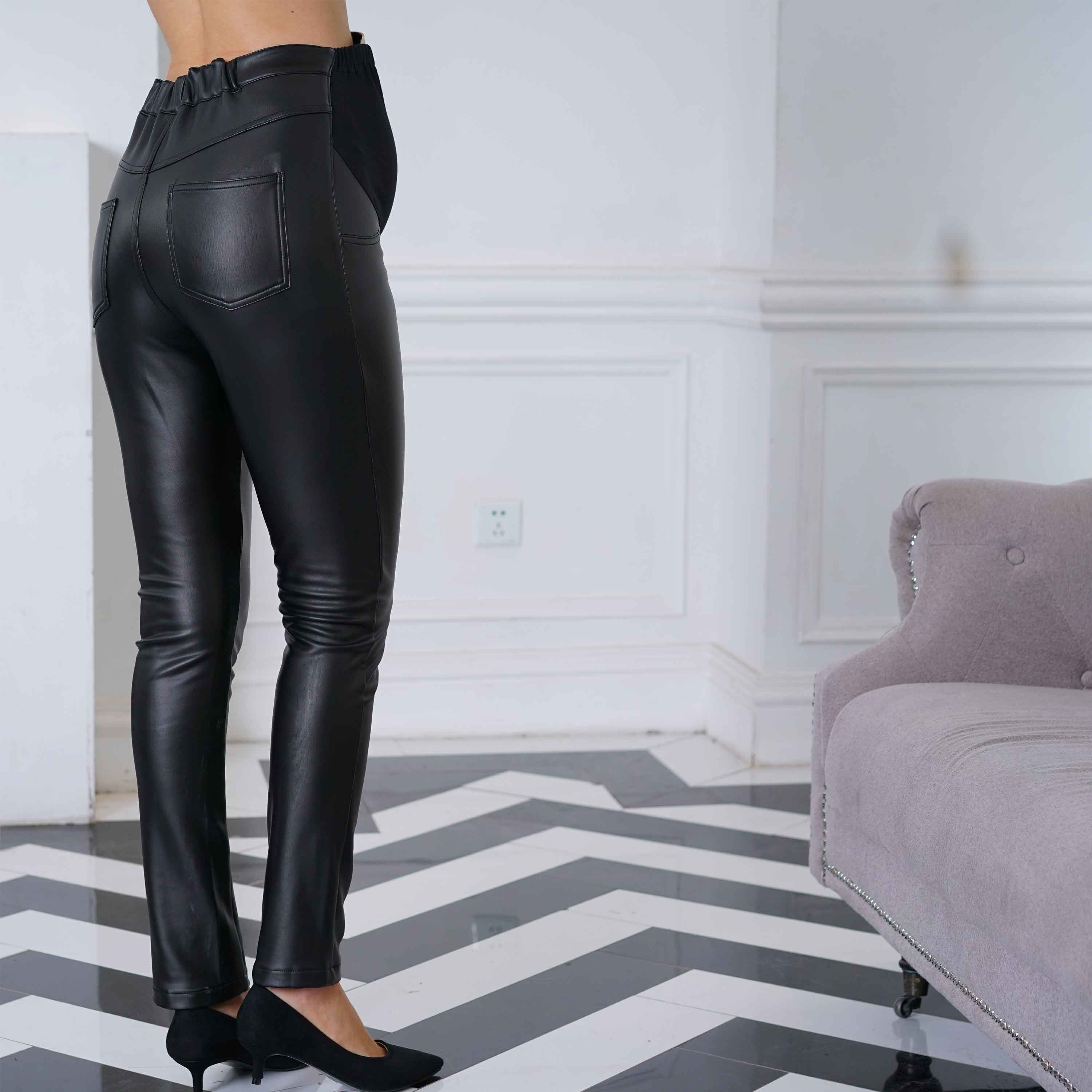 Maternity and Post-Partum Warm Fake Leather Pants Leggings