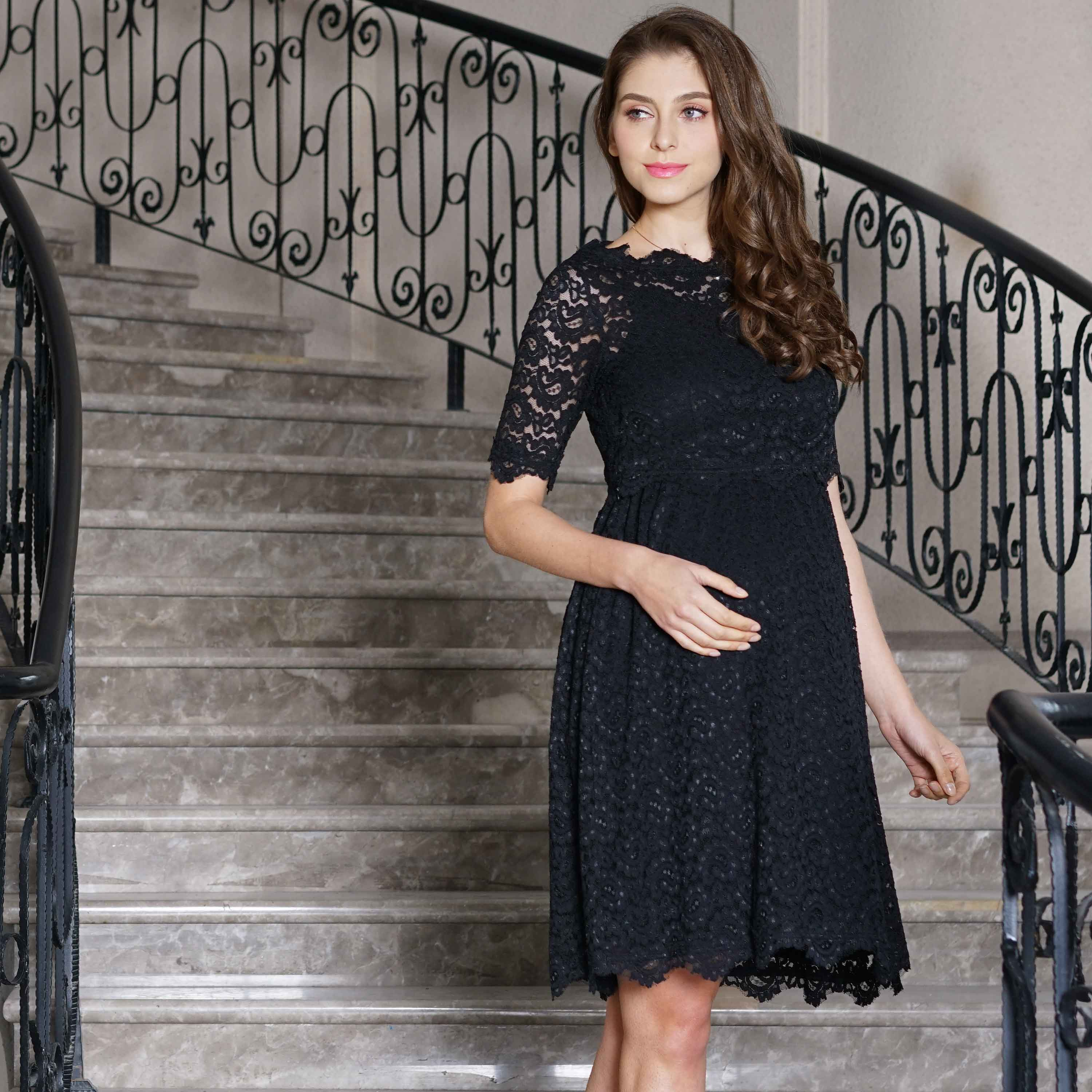 Sweet Mommy Maternity and Nursing Lace Top and Cami Dress Formal Set