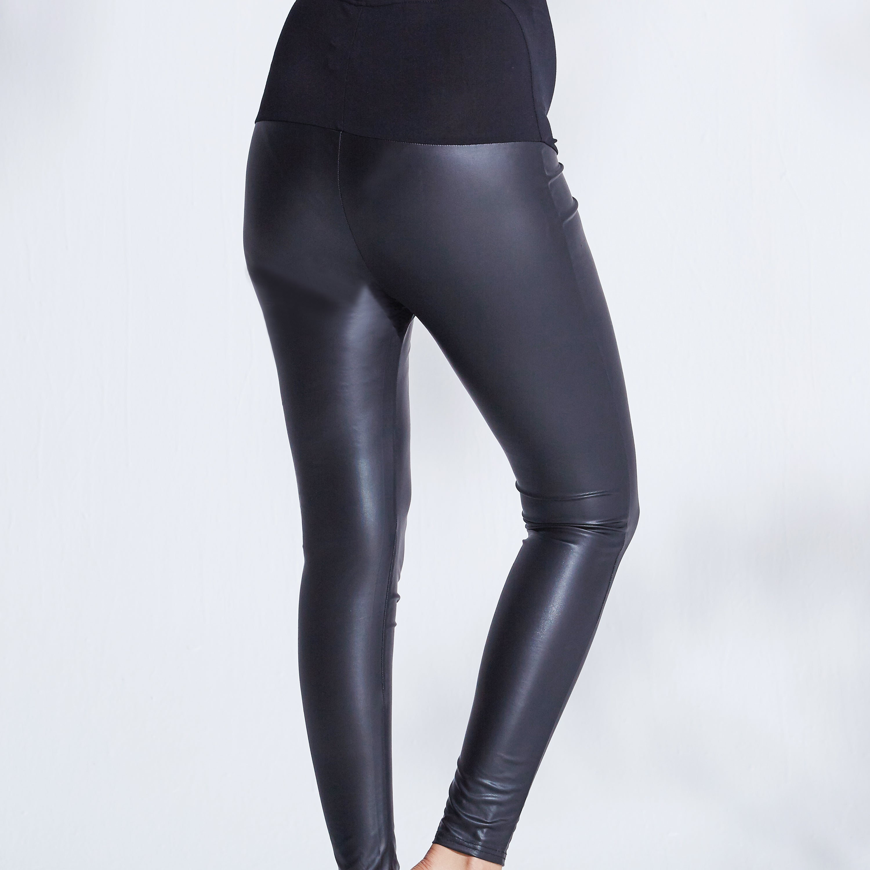 maternity black leather leggings