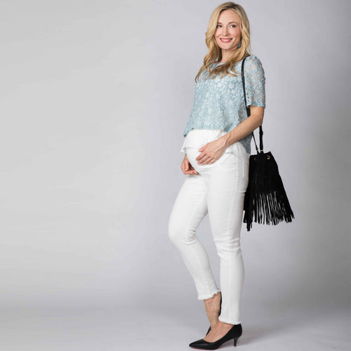 NEW Maternity Super Stretch Vintage Denim Skinny Jeans with Fringe Hem