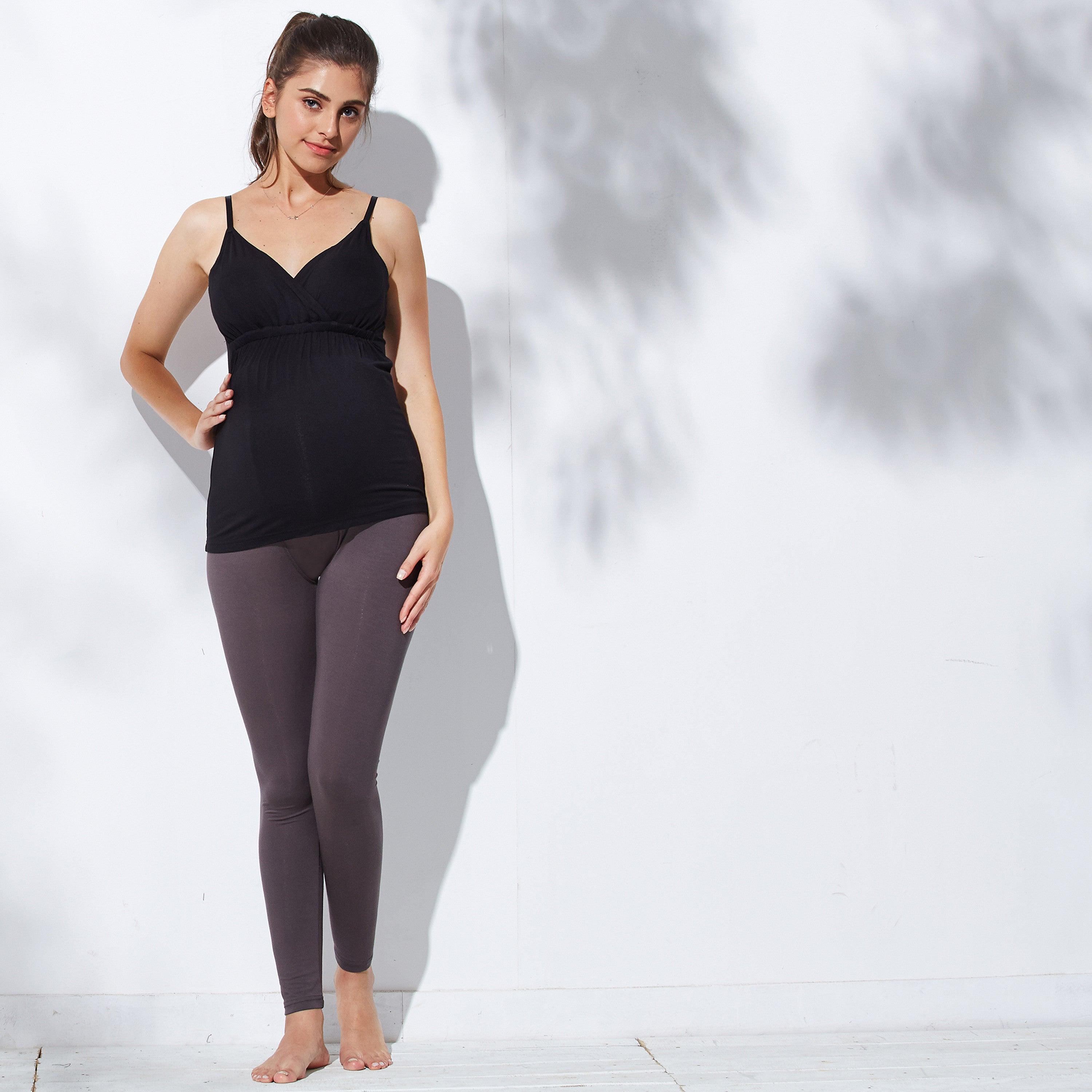 postpartum stretchy leggings charcoal