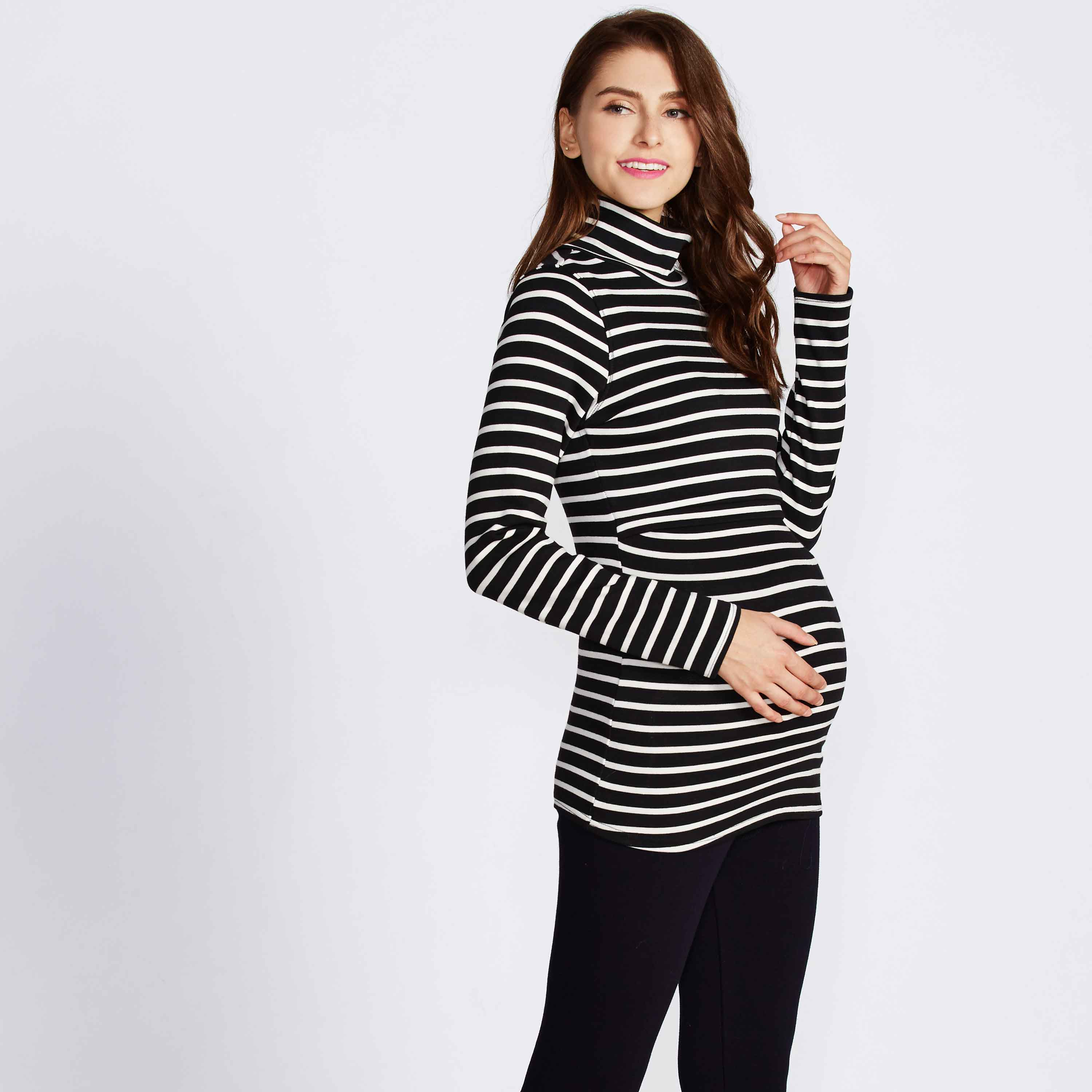 Maternity and Nursing Warm Turtleneck Black and White Striped Top