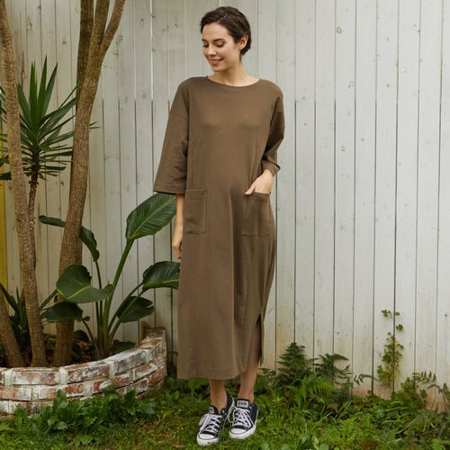Maternity and Nursing Oversized Jumper Shirt Maxi Dress