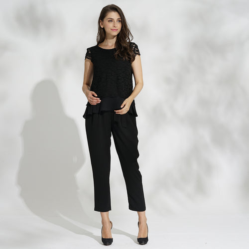 Maternity and Nursing Formal Lacy Layered Top and Trousers Set