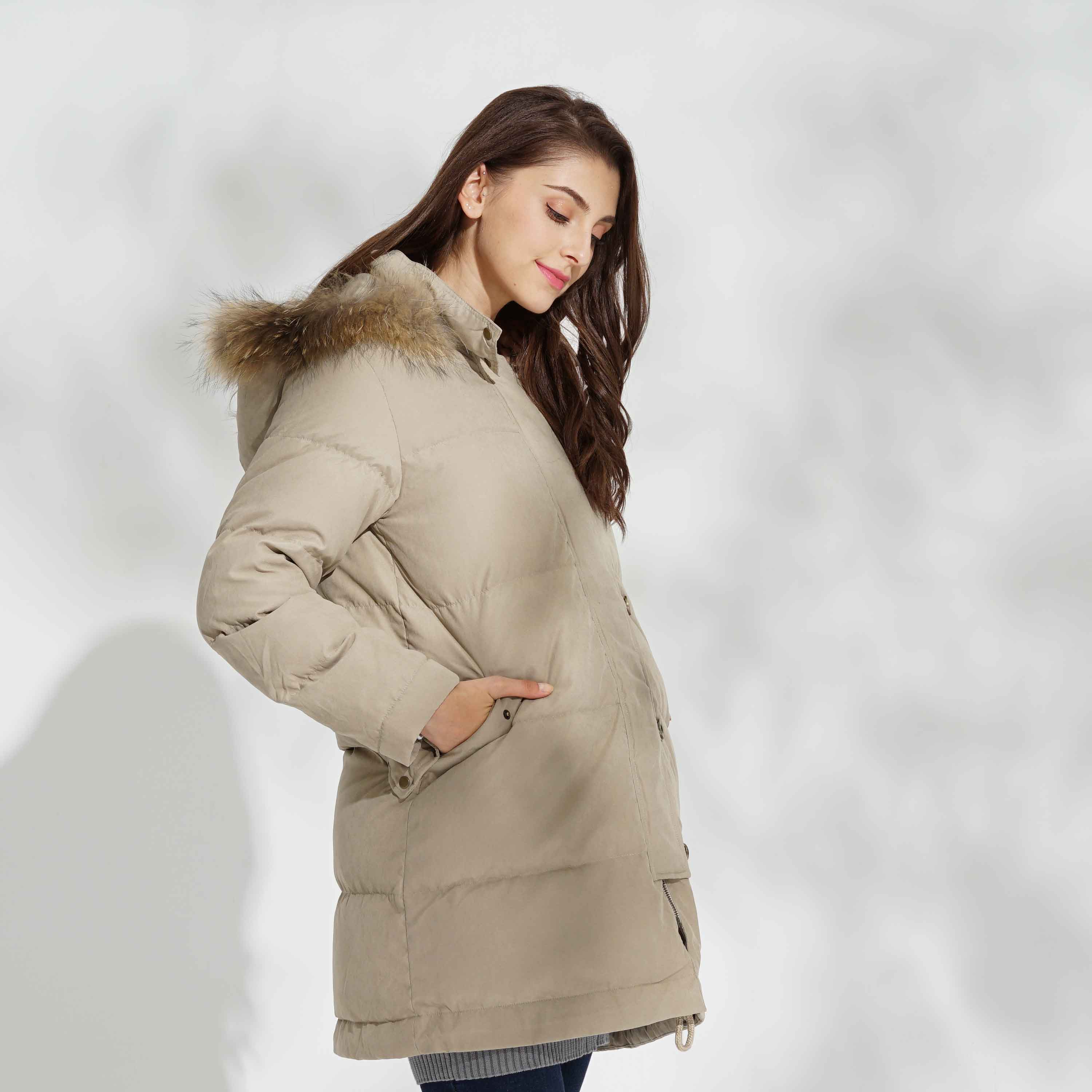 Maternity and Mother's Classic  Down Coat with Baby Covering Panel