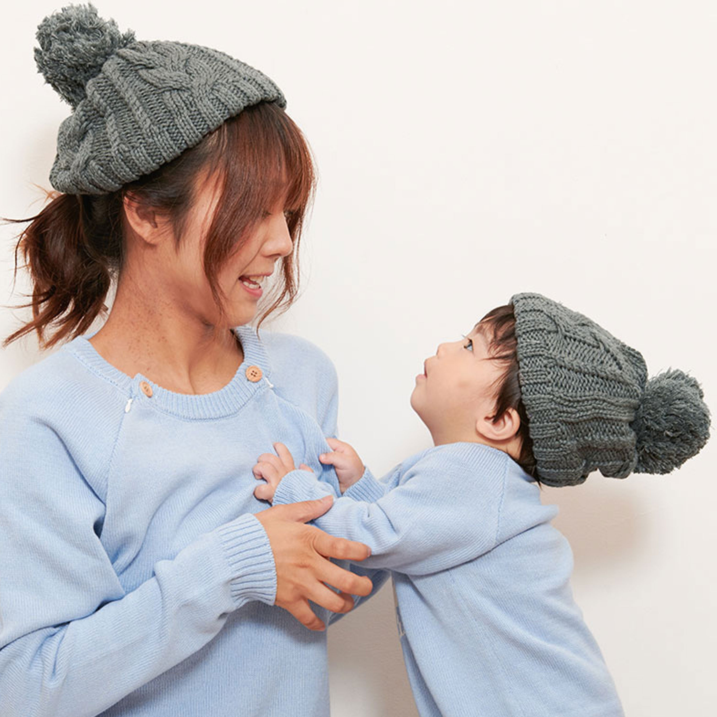 Mom and Baby Matching 100% Cotton Knit Hat with Pom Pom (for adults)