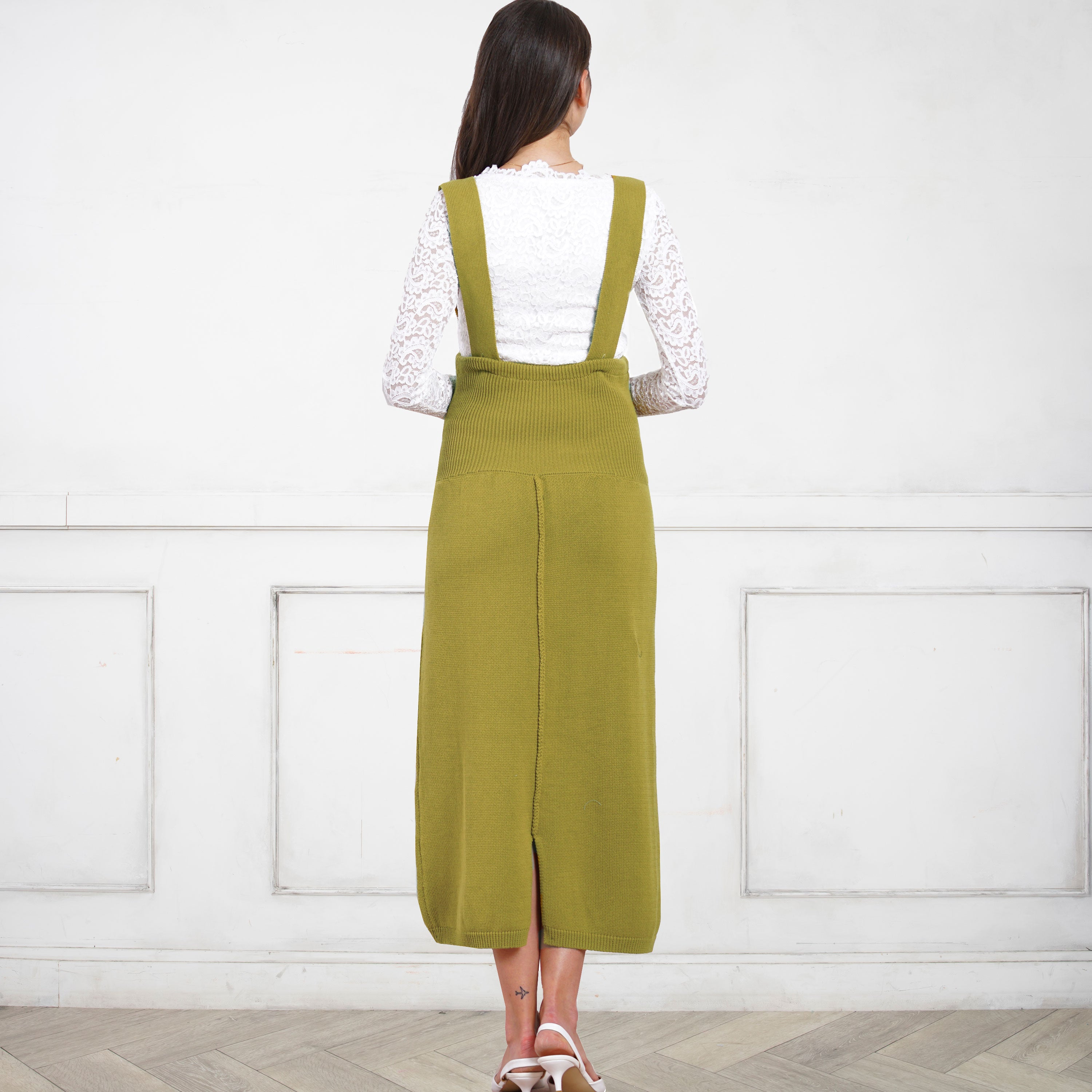 HIGH WAIST Maternity/ Pregnancy 100% Organic Cotton Knit Maxi Skirt With Suspenders