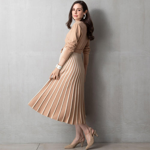 Maternity and Nursing V-Neck Pleated Knit Midi Dress