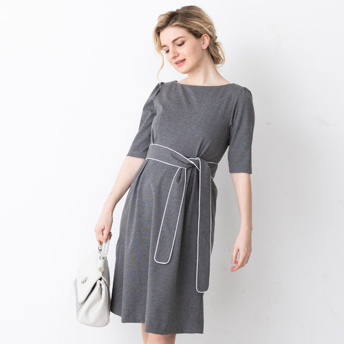 Maternity and Nursing Simple Tuck Rayon Dress