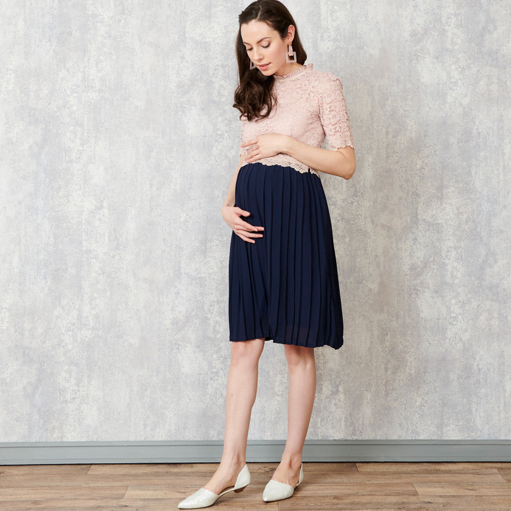 Maternity and Nursing High Neck Lace Top Formal Dress with Pleated Skirt