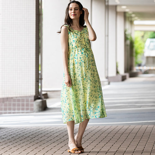 Maternity and Nursing Chiffon Sleeveless Dress