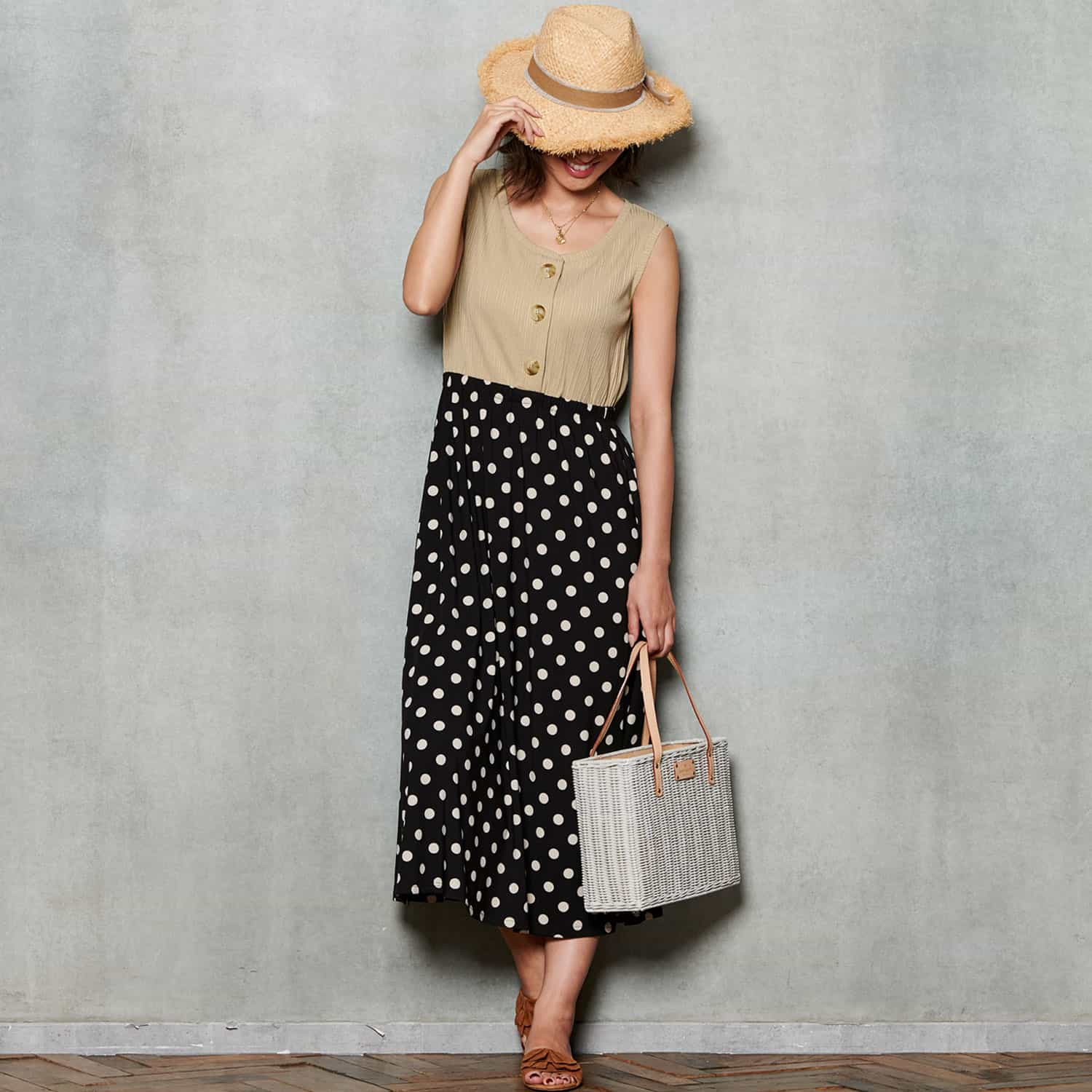 Maternity and Nursing Polka Dot Sleeveless Midi Dress