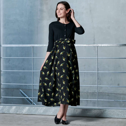 Maternity and Nursing Vintage Floral Print Wrap Midi Dress with Belt