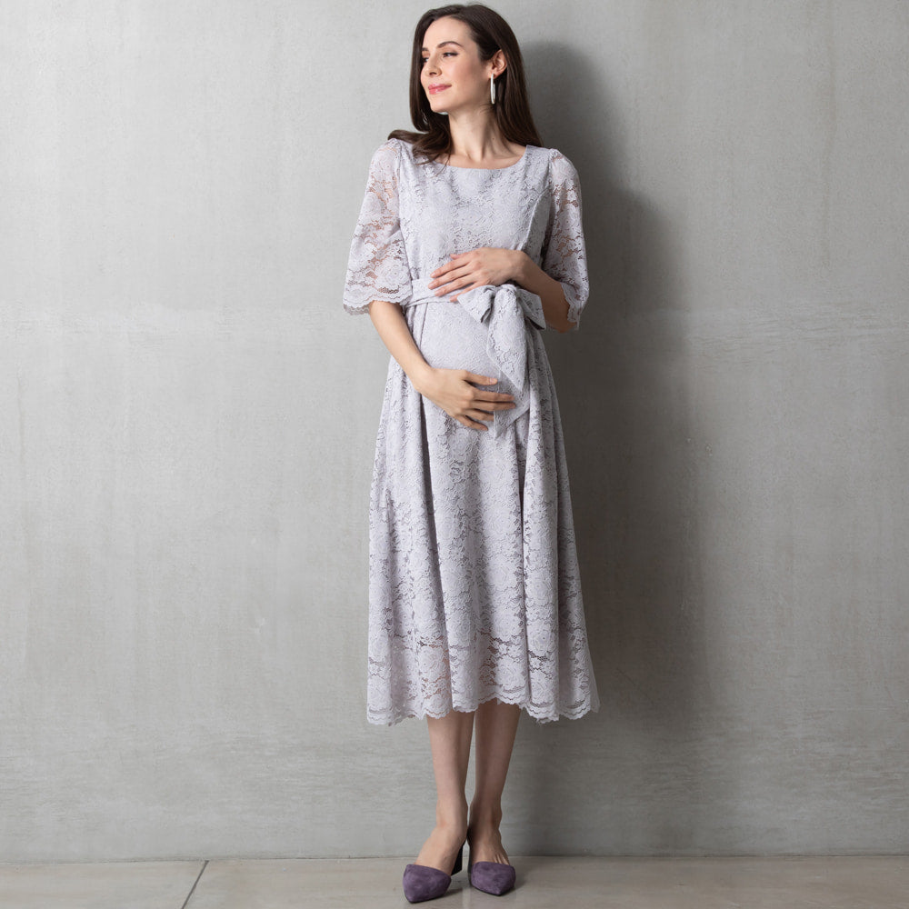 Maternity and Nursing Baby Shower Midi Lace Dress