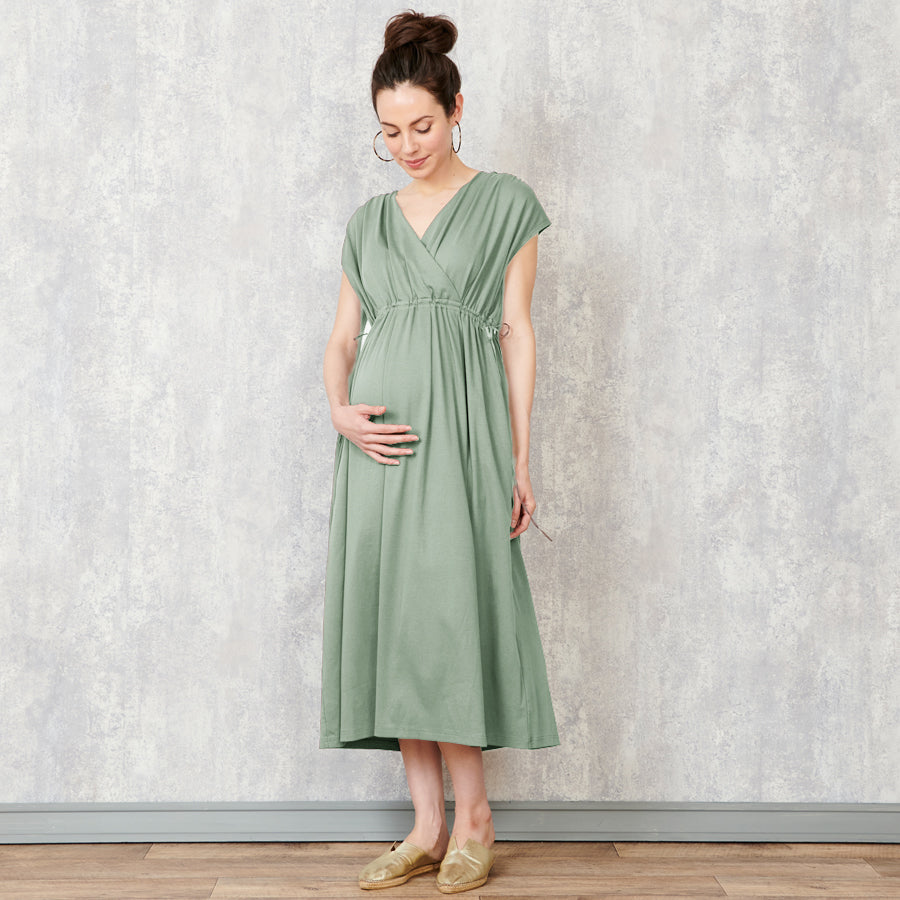 Maternity and Nursing Cotton Midi Dress