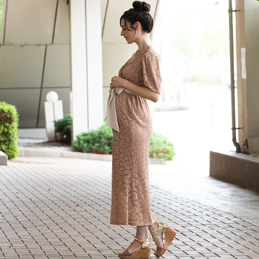 Maternity and Nursing Mermaid Total Lace Dress
