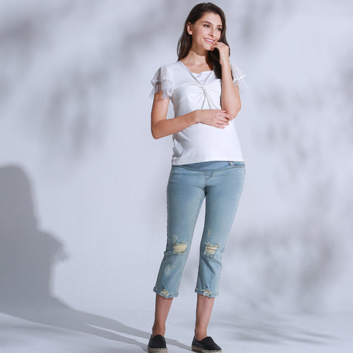 NEW Maternity and Post-Partum COTTON LOW WAIST RIPPED jeans