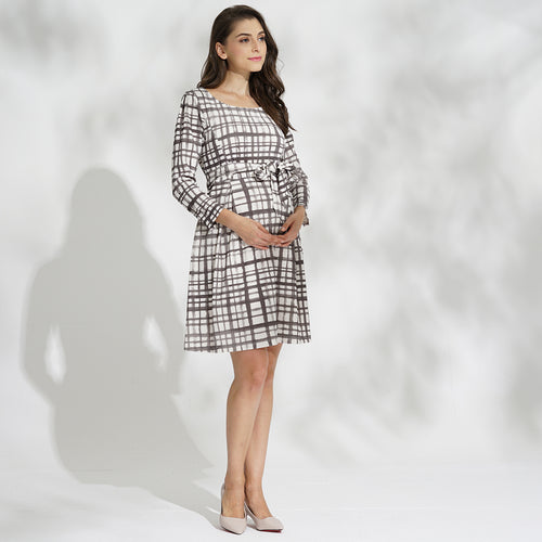 【Made in Japan】Maternity and Nursing Tweedy Check Long Sleeve Dress