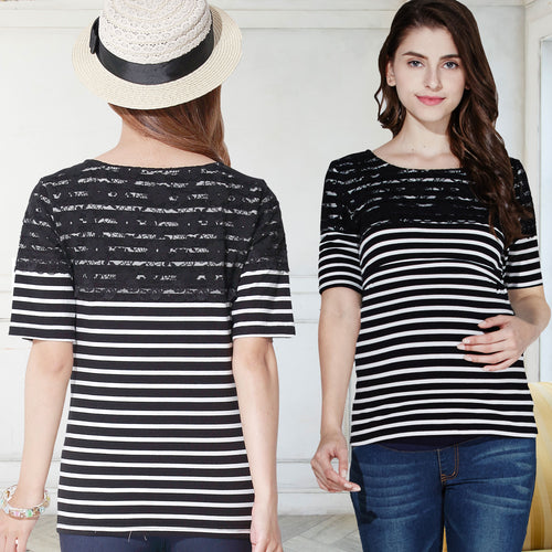 Maternity and Nursing Lace Shoulder Stripe Short Sleeve Tee Shirt