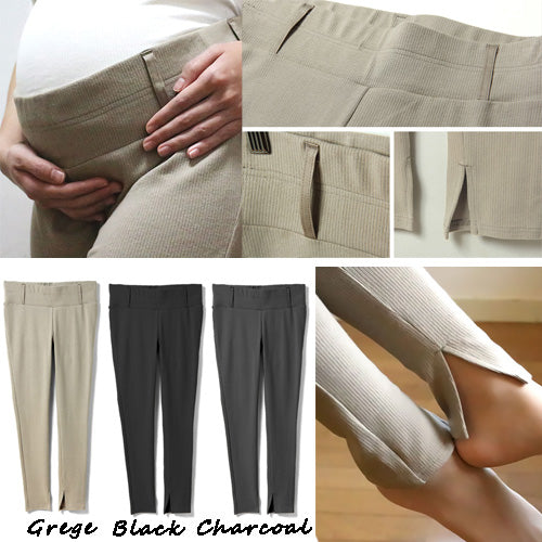 Maternity and Post-Partum Ribbed Slit Stretchy Cotton Leggings