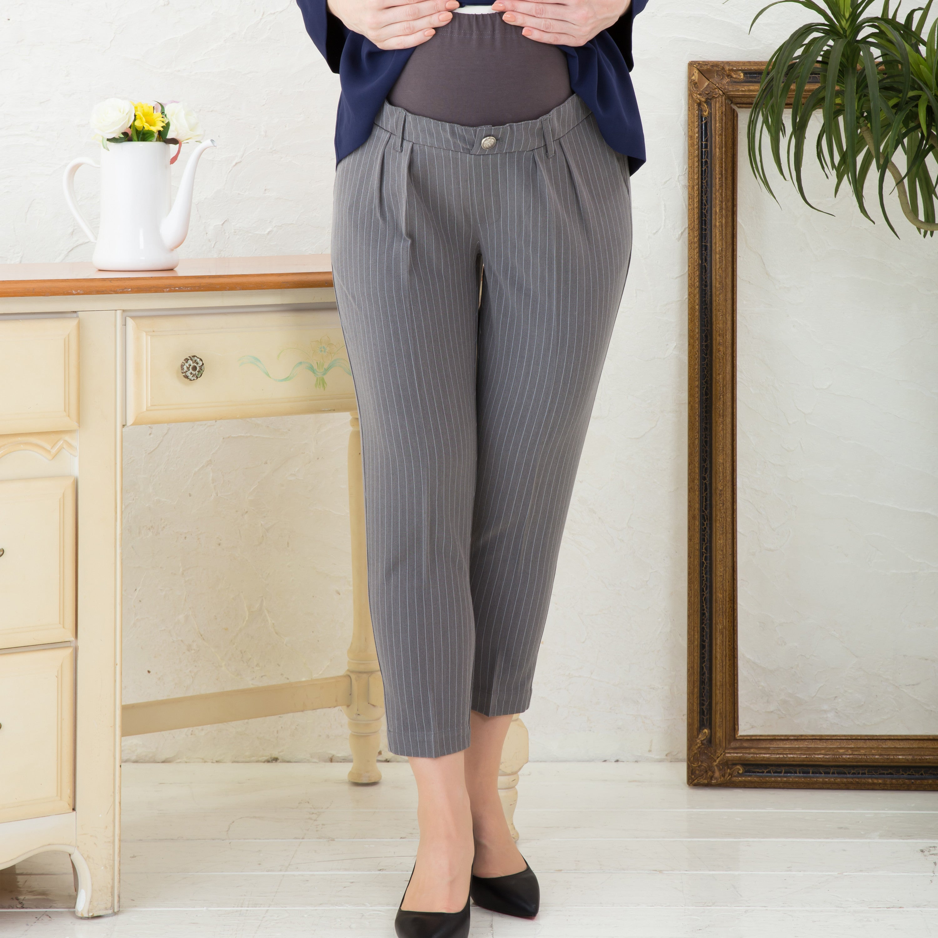 Maternity Formal Tapered Striped Pants