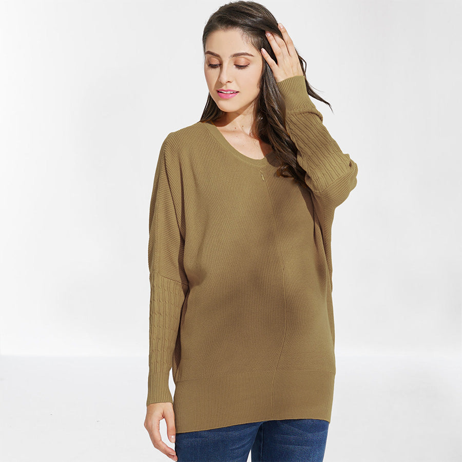 Maternity and Nursing 100% ORGANIC COTTON Dolmen Sleeves Sweater Top